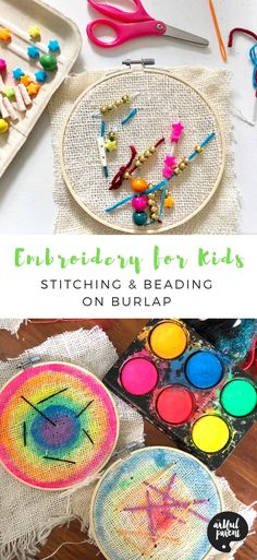 Art Activities For Kids, Preschool Art, Art For Kids, Burlap Art, Burlap Crafts, Toddler Crafts, Crafts For Kids, Simple Embroidery, Beading Projects