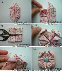 Fabric Origami Flower. Written in Russian but the picture tutorial explains it just fine. I like this version because the flower finishes with the points in the corner.
