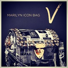 Marilyn never looked so star studded! Get the Marilyn Icon Bag studded and collaged with headlines from the world's most vivacious Hollywood legend. Pair this handbag with your favorite studded and spiked outfit for a bit of celebrity glam.