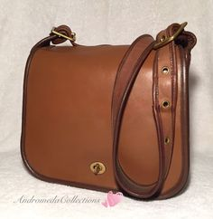 Vintage Coach Two Tone Stewardess Bag, 9525, Tabac, Made in NYC #Coach #Vintage