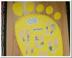 Antonyms: students trace their feet, then write antonyms with a description/picture