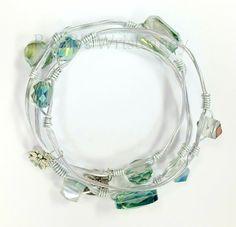 Silver Green Bead Wire Wrapped Bangle Set by RandRsWristCandy $20  #handmade #randrwristcandy #jewelry