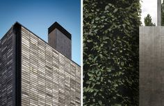 Left: Each water struck coal-fired brick is made by Danish artisanal manufacturer Petersen Tegl and has a striking grey-green color. Right: Townhouses feature energy-efficient insulation, world-class HVAC and ventilation systems, and low flow faucets to reduce water use.