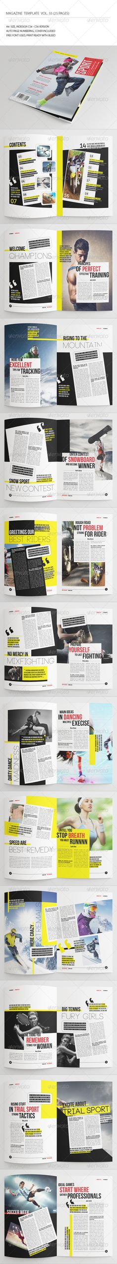 25 Pages Sport Magazine Vol35 — InDesign INDD #brochure #magazine • Available here → https://graphicriver.net/item/25-pages-sport-magazine-vol35/7286254?ref=pxcr