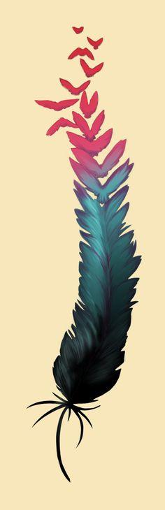 tatouage plume by feriadeceniza