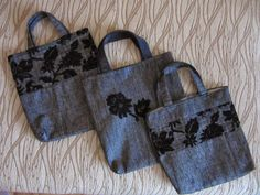 Three tote bags with flower application