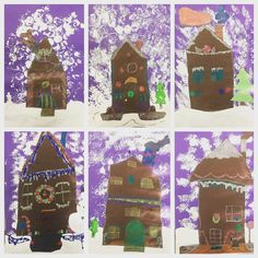 Gingerbread houses done by 3rd grade ! Some went a little glitter happy #winterart #arteducation #elementaryart #gingerbreadhouses #thirdgrade