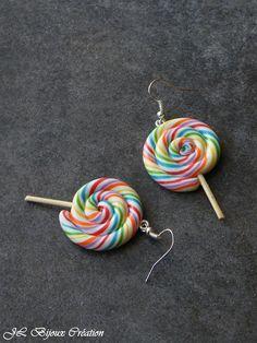 Boucle d'oreille sucette spirale en fimo Argent 925 : Boucles d'oreille par jl-bijoux-creation