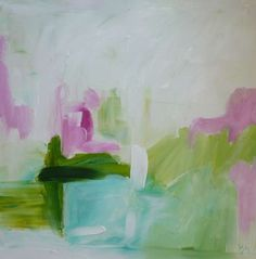 original abstract painting Spring April Easter by pamelam on Etsy, $120.00