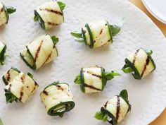 Zucchini Rolls -- zucchini wrapped around spinach and goat cheese  grilled.