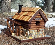 Old Mill Log & Stone Bird House by jepuskas Decorative Bird Houses, Bird Houses Diy, Fairy Houses, Birdhouse Craft, Birdhouse Designs, Birdhouse Ideas, Bird House Plans, Bird House Kits, Bird House Feeder