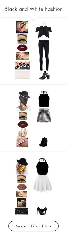 """""""Black and White Fashion"""" by bleu-hightops ❤ liked on Polyvore featuring Miss Selfridge, Frame, LULUS, Kate Spade, Emma Cook, H&M, Lime Crime, SoGloss, Saks Fifth Avenue and L.K.Bennett"""