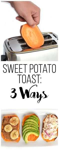 Sweet Potato Toast: 3 Ways! A great paleo & alternative to wheat toast! Top with Almond Butter & Bananas, Avocado or Tuna! Sweet Potato Toast: 3 Ways! A great paleo & alternative to wheat toast! Top with Almond Butter & Bananas, Avocado or Tuna! Real Food Recipes, Vegetarian Recipes, Cooking Recipes, Yummy Food, Healthy Recipes, Avocado Recipes, Simple Recipes, Chicken Recipes, Avacado Snacks