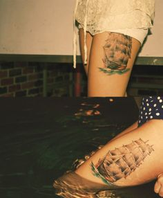 Amazing ship tattoo - thigh Kudos to inspiring-tattoos o. Future Tattoos, Love Tattoos, Body Art Tattoos, I Tattoo, Tattoos For Women, Thigh Tattoos, Tatoos, Bear Tattoos, Sweet Tattoos
