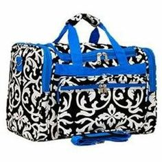Rakuten.com:Handbags Bling and More|Damask Print Duffle Bag-Blue|Uncategorized