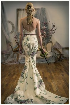 Floral wedding dress from the Elizabeth Fillmore Spring 2016 Collection.