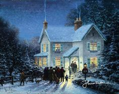 Thomas Kinkade Evening Carolers print for sale. Shop for Thomas Kinkade Evening Carolers painting and frame at discount price, ships in 24 hours. Cheap price prints end soon. Christmas Scenes, Christmas Carol, Christmas Pictures, Vintage Christmas, Victorian Christmas, Christmas Music, White Christmas, Christmas Posters, Christmas Videos