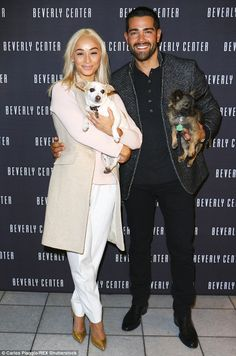 Going strong after six years: Cara Santana and Jesse Metcalfe put on a sweet display as they attended a festive-themed pet event in Beverly Hills, Los Angeles, on Thursday