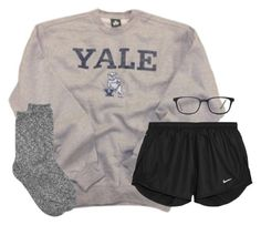 """rough day yesterday."" by kaley-ii ❤ liked on Polyvore featuring NIKE and GlassesUSA"