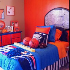 OKC Thunder bedroom Jadon's insisting on...so glad that the little boys still are into the superheros so that stuff doesn't go to waste!