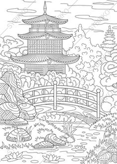 Coloring Pages Japanese House On The River Bank