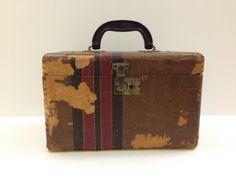 1940's Train Case tweed pattern over wood by TheTravelingTortoise