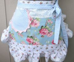 Aprons  Half Aprons  Blue and Pink Rose Apron  Pink by AnniesAttic, $28.95