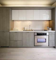 White and Grey wood Modern kitchen