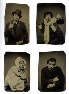 """""""Pantomimist"""" 1870s, tintypes of Fawdon Vokes, né Walter Fawdon (from The Metropolitan Museum of Art Bulletin, Fall 2012). [He] joined the ranks of the Vokes Family, a group of London performers who toured the United States beginning in 1872. Somewhere on tour, perhaps in Philadelphia, Vokes stopped at a portrait studio to act his roles before the camera."""