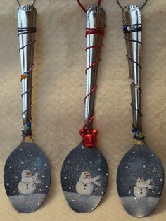 Painted spoons - another batch done, covered with German glass glitter