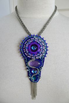 "The colours in this are so wonderful. Heliotrope or Bermuda Blue for the centre stone. Credit to ~~""Hippie"" Pendant by Astrid de Koning~~"