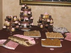 "Cookie and cupcake bar for a ""sugar and spice"" themed baby shower."