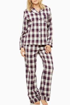 Is there anything better than slipping into a pair of the softest flannel pajamas at the end of a long day? We don't think so either! The Mila PJ set is perfect for lounging and relaxing and gives you that cool casual look while keeping you comfy. Comes in a soft and practical pouch - great for travelling!   Cotton twill flannel  Top: button front and slit at side  Pant: elastic waist with front satin drawstring  Collar front pocket sleeves and leg all trimmed with satin piping  Straight leg…
