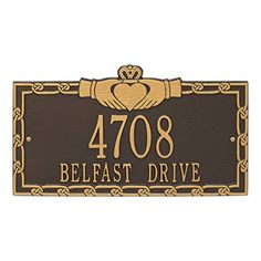 Whitehall Personalized Indoor/Outdoor Cast Irish Claddagh Address Plaque Sign with House Number and Street Name (Bronze Gold) House Number Plaque, House Numbers, Claddagh Symbol, New Homeowner Gift, Address Plaque, Address Signs, Whitehall Products, Green And Gold, Black Gold