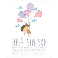 Life is Peachy Personalised Birth Print - Flying Girl $28.00 www.mamadoo.com.au #lifeispeachy #mamadoo #keepsakes