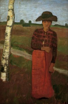 Paula Modersohn-Becker - German Expressionism - Woman next to birch Tree - Bäuerin an Birke
