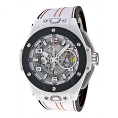 Hublot Big Bang Ferrari White Ceramic Carbon Dial Skeleton Ceramic Men's Sports Watch 401.HQ.0121.VR