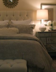 Restful beige bedroom. Love the color scheme