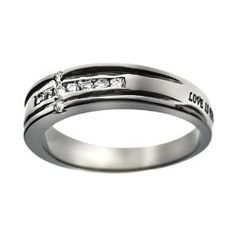 """Christian Womens Stainless Steel Abstinence """"Love is Patient, Love is Kind, Love Never Fails"""" 1 Corinthians 13:4-8 Channel Set Cubic Zirconium Diamond Cross Chastity Ring for Girls - Girls Purity Ring"""