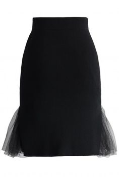 Layers of Grace Knitted Bud Skirt in Black - Retro, Indie and Unique Fashion