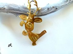 Brass Reindeer Christmas ornament Lucky charm by GeorgiaCollection, Reindeer Christmas, Christmas Gifts, Christmas Ornaments, Lucky Charm, Brooch, Brass, Street, Holiday Decor, Unique Jewelry