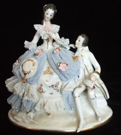 German Volkstedt Dresden Lace Victorian Couple Lady Gent Figurine Figure | eBay