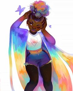 Still waiting for infinitely long pastel rainbow veils and easy multicolor buns irl Black Love Art, Black Girl Art, Art Girl, Black Girls, Arte Black, Black Art Pictures, Black Characters, Black Artwork, Afro Art