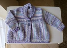 Yoked collared cardi for baby girl about 6 months