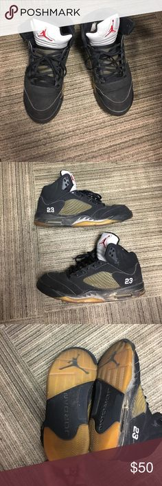 Men Jordan 5s! Men size 13 jordan 5s! Not in the best condition. No insoles. Great project for a sneaker fan who likes to restore retros! Also can send to a sneaker restore company. Air Jordan Shoes Sneakers