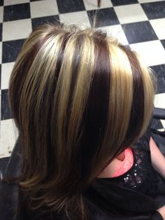 blonde chunky highlights on dark hair - Google Search