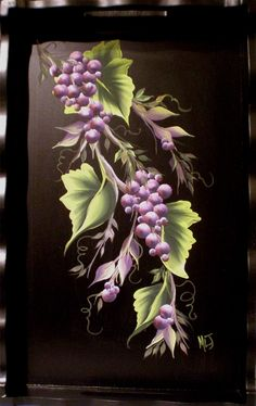 Grapevine on wood tray
