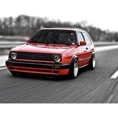 Mk2 GTI #vw #gti #slammed #red. I think this will be my next project car. Love this car.
