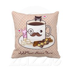 Cute mustache coffee cup with kawaii animals throw pillows