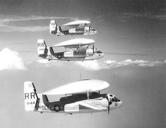 """""""Grumman """"Tracers"""" of Airborne Early Warning Squadron """"Early Eleven"""". Us Navy Aircraft, Us Military Aircraft, Uss Hancock, Uss Kearsarge, Grumman Aircraft, Navy Carriers, Aircraft Parts, Aviation Image, Army & Navy"""